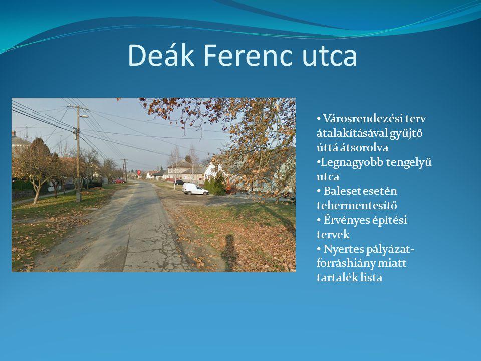 Deák Ferenc utca • Városrendezési terv átalakításával gyűjtő úttá átsorolva • Legnagyobb tengelyű utca • Baleset esetén tehermentesítő • Érvényes épít