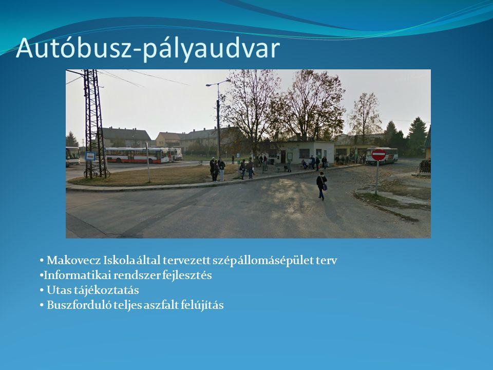 Autóbusz-pályaudvar • Makovecz Iskola által tervezett szép állomásépület terv • Informatikai rendszer fejlesztés • Utas tájékoztatás • Buszforduló tel