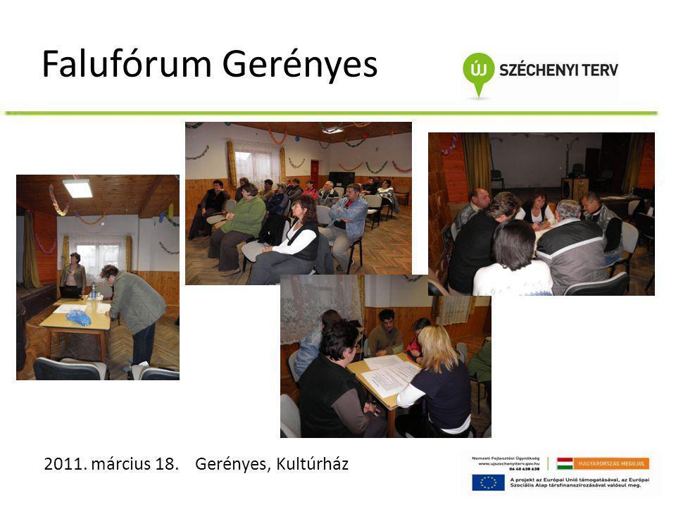 Falufórum Gerényes 2011. március 18. Gerényes, Kultúrház