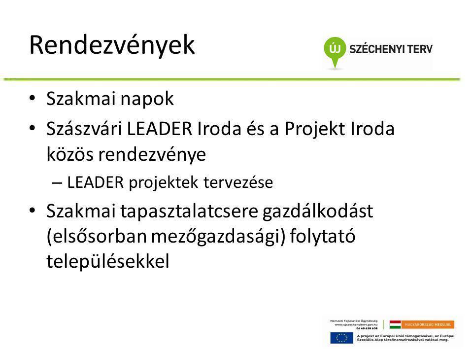 Rendezvények • Szakmai napok • Szászvári LEADER Iroda és a Projekt Iroda közös rendezvénye – LEADER projektek tervezése • Szakmai tapasztalatcsere gaz
