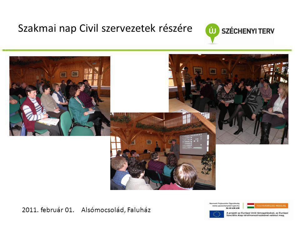Szakmai nap Civil szervezetek részére 2011. február 01. Alsómocsolád, Faluház