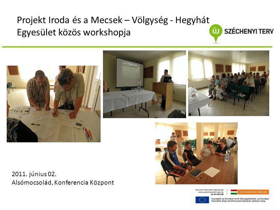 Projekt Iroda és a Mecsek – Völgység - Hegyhát Egyesület közös workshopja 2011. június 02. Alsómocsolád, Konferencia Központ