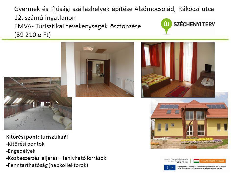 Gyermek és Ifjúsági szálláshelyek építése Alsómocsolád, Rákóczi utca 12. számú ingatlanon EMVA- Turisztikai tevékenységek ösztönzése (39 210 e Ft) Kit