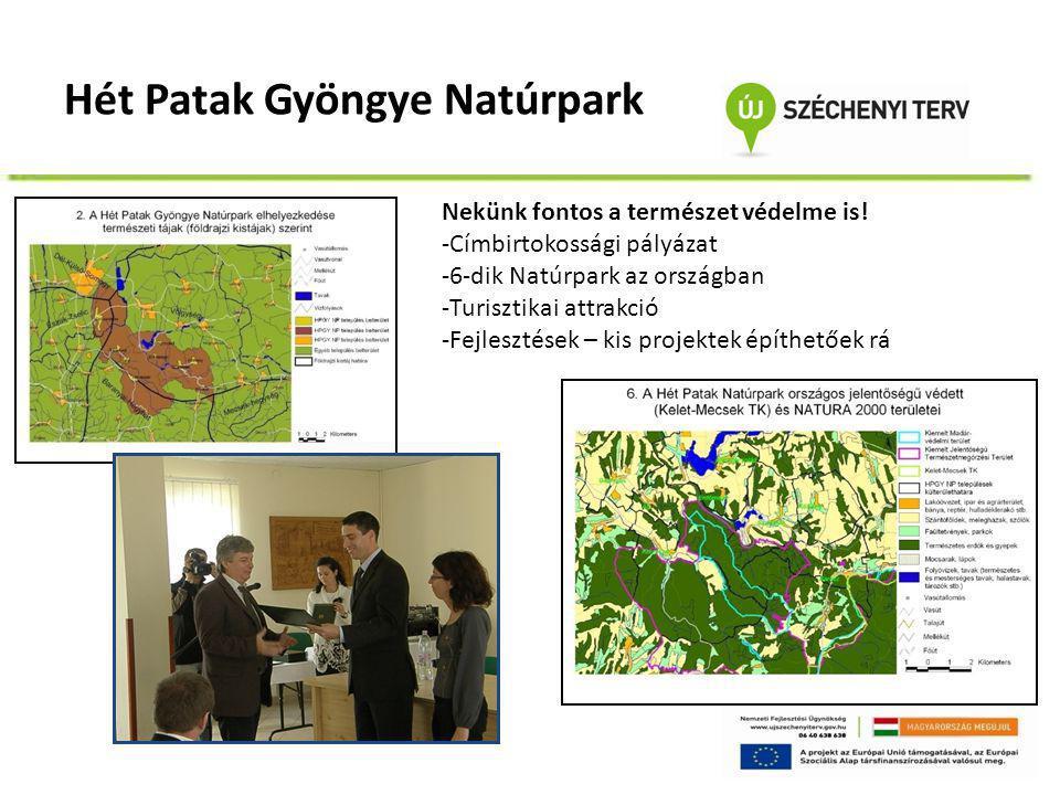 Hét Patak Gyöngye Natúrpark Nekünk fontos a természet védelme is! -Címbirtokossági pályázat -6-dik Natúrpark az országban -Turisztikai attrakció -Fejl