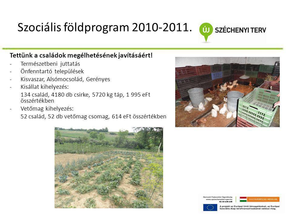Szociális földprogram 2010-2011. Tettünk a családok megélhetésének javításáért! -Természetbeni juttatás -Önfenntartó települések -Kisvaszar, Alsómocso