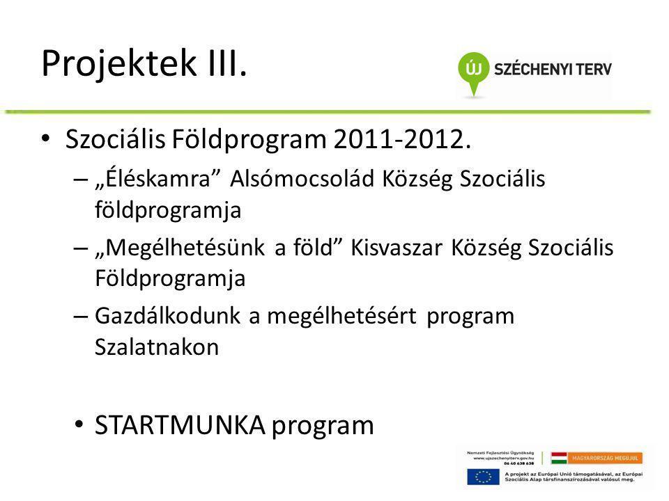 """Projektek III. • Szociális Földprogram 2011-2012. – """"Éléskamra"""" Alsómocsolád Község Szociális földprogramja – """"Megélhetésünk a föld"""" Kisvaszar Község"""