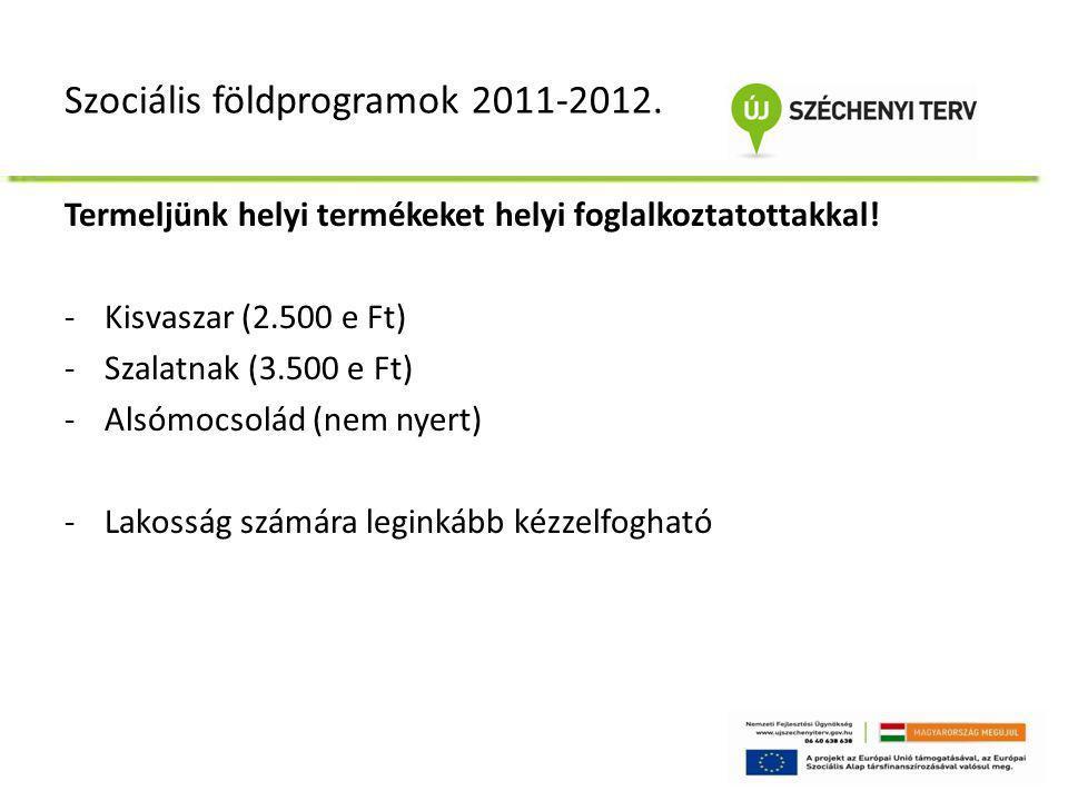 Szociális földprogramok 2011-2012. Termeljünk helyi termékeket helyi foglalkoztatottakkal! -Kisvaszar (2.500 e Ft) -Szalatnak (3.500 e Ft) -Alsómocsol