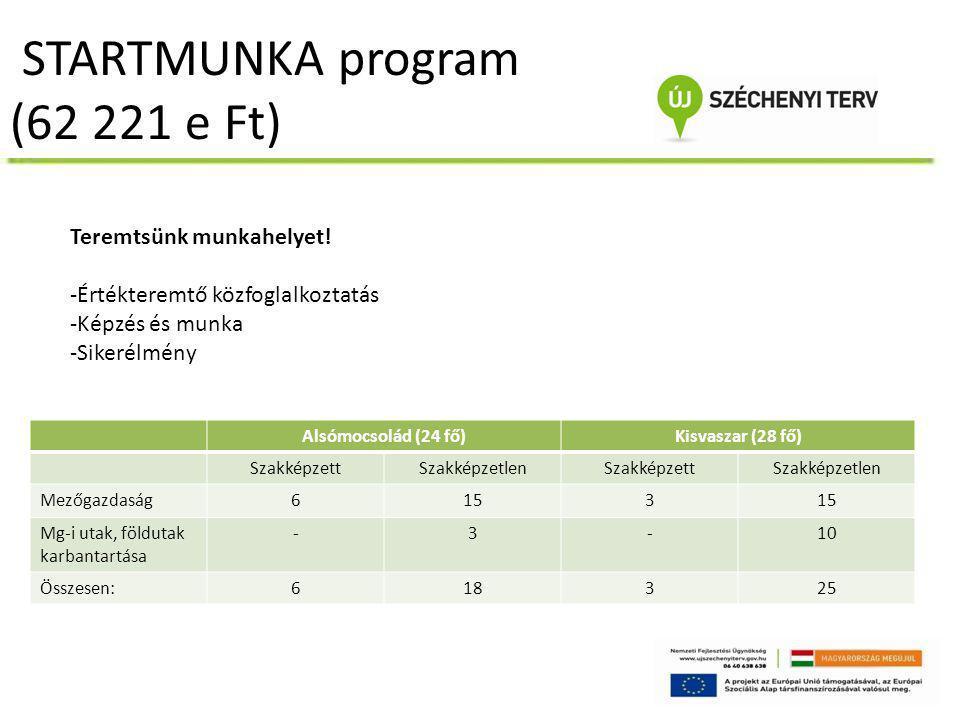 STARTMUNKA program (62 221 e Ft) Alsómocsolád (24 fő)Kisvaszar (28 fő) SzakképzettSzakképzetlenSzakképzettSzakképzetlen Mezőgazdaság6153 Mg-i utak, fö