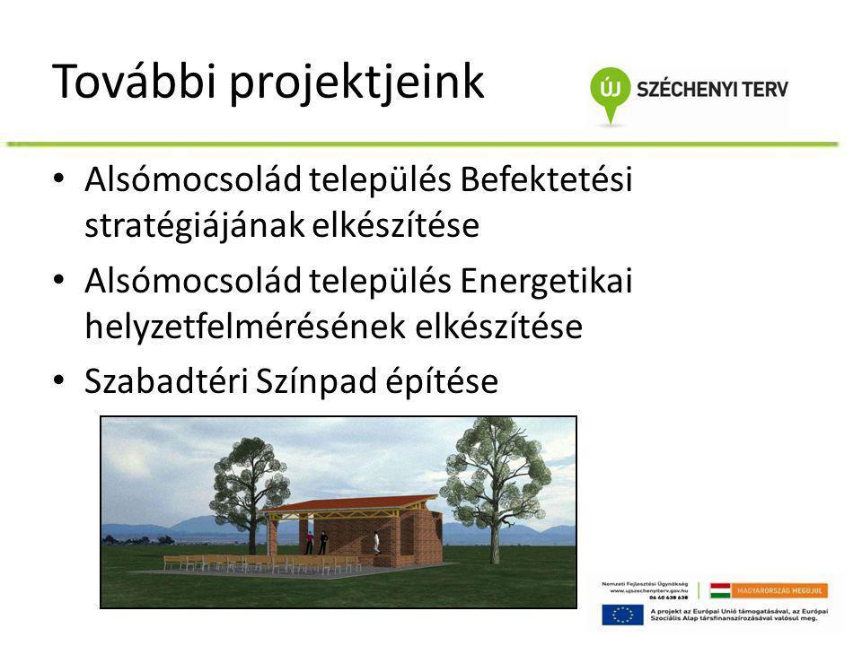 További projektjeink • Alsómocsolád település Befektetési stratégiájának elkészítése • Alsómocsolád település Energetikai helyzetfelmérésének elkészít