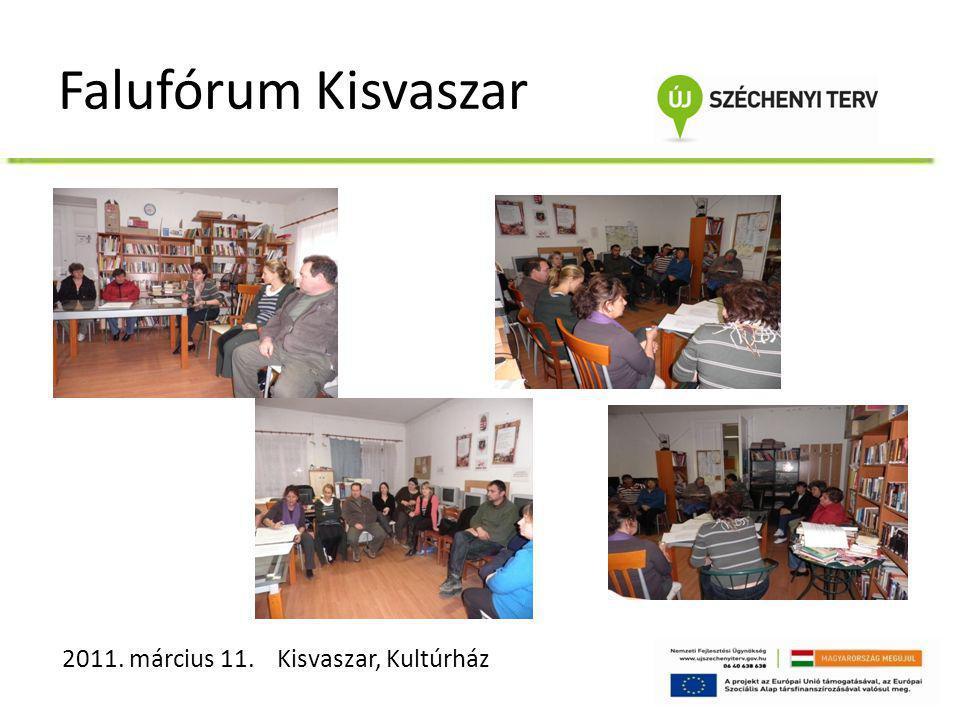 Falufórum Kisvaszar 2011. március 11. Kisvaszar, Kultúrház