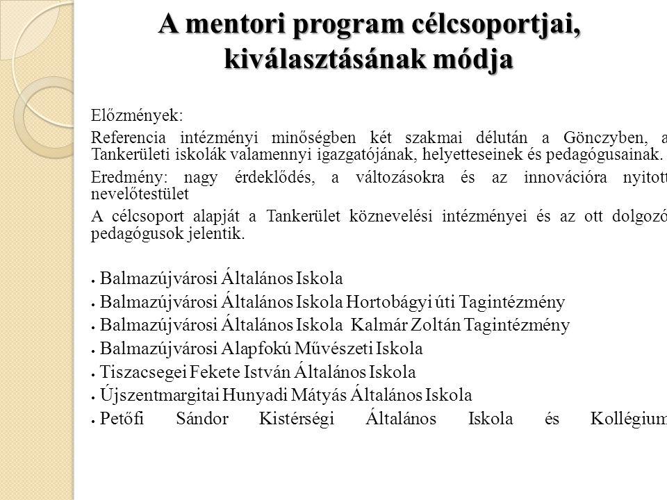 A mentori program célcsoportjai, kiválasztásának módja Előzmények: Referencia intézményi minőségben két szakmai délután a Gönczyben, a Tankerületi isk