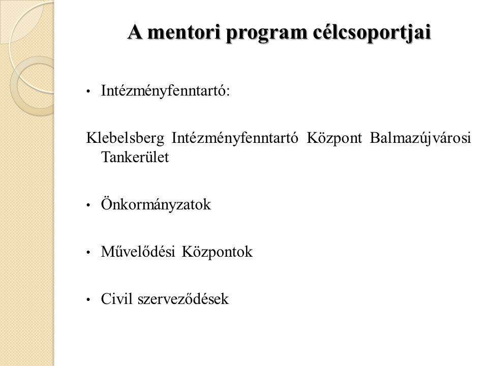 A mentori program célcsoportjai • Intézményfenntartó: Klebelsberg Intézményfenntartó Központ Balmazújvárosi Tankerület • Önkormányzatok • Művelődési K
