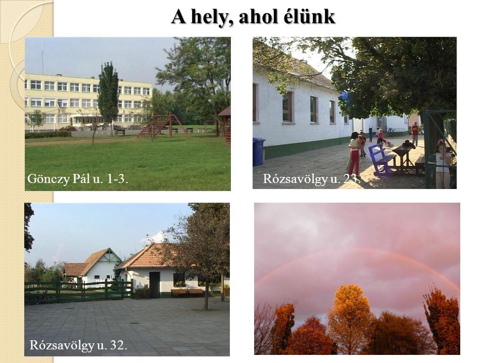 Gönczy Pál u. 1-3. Rózsavölgy u. 23. Rózsavölgy u. 32. Deák F. u. 72. A hely, ahol élünk