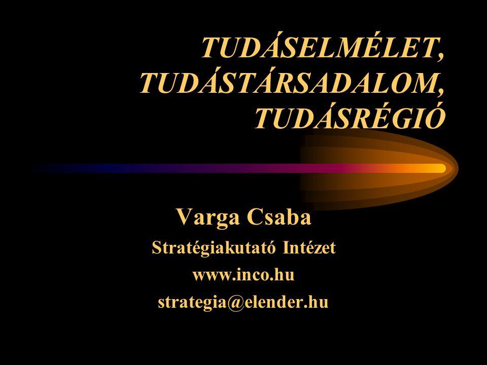 TUDÁSELMÉLET, TUDÁSTÁRSADALOM, TUDÁSRÉGIÓ Varga Csaba Stratégiakutató Intézet www.inco.hu strategia@elender.hu
