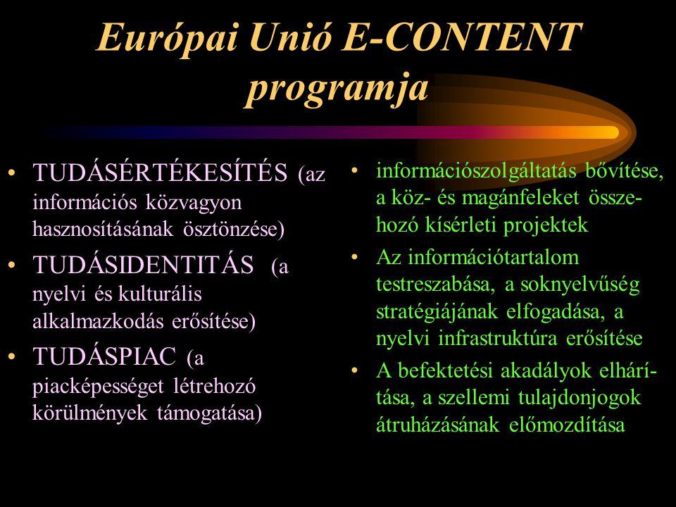 Európai Unió E-CONTENT programja •TUDÁSÉRTÉKESÍTÉS (az információs közvagyon hasznosításának ösztönzése) •TUDÁSIDENTITÁS (a nyelvi és kulturális alkal