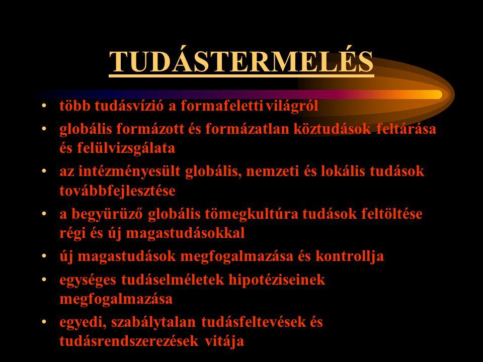 TUDÁSTERMELÉS •több tudásvízió a formafeletti világról •globális formázott és formázatlan köztudások feltárása és felülvizsgálata •az intézményesült g