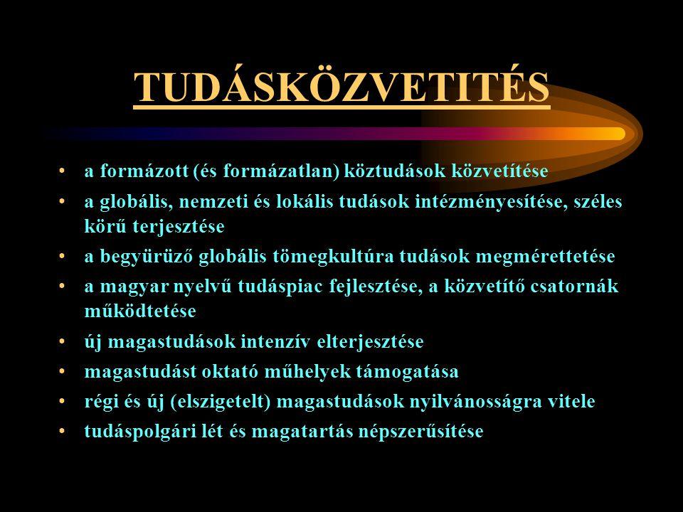 TUDÁSKÖZVETITÉS •a formázott (és formázatlan) köztudások közvetítése •a globális, nemzeti és lokális tudások intézményesítése, széles körű terjesztése