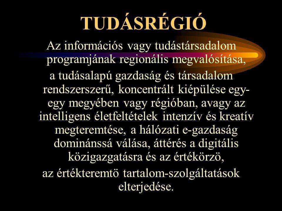 TUDÁSRÉGIÓ Az információs vagy tudástársadalom programjának regionális megvalósítása, a tudásalapú gazdaság és társadalom rendszerszerű, koncentrált k