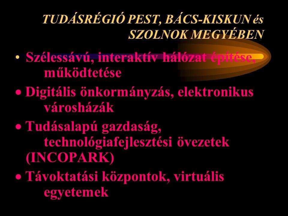 TUDÁSRÉGIÓ PEST, BÁCS-KISKUN és SZOLNOK MEGYÉBEN •Szélessávú, interaktív hálózat építése, működtetése  Digitális önkormányzás, elektronikus városházá