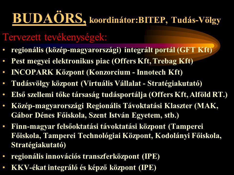 BUDAÖRS, koordinátor:BITEP, Tudás-Völgy Tervezett tevékenységek: •regionális (közép-magyarországi) integrált portál (GFT Kft) •Pest megyei elektroniku