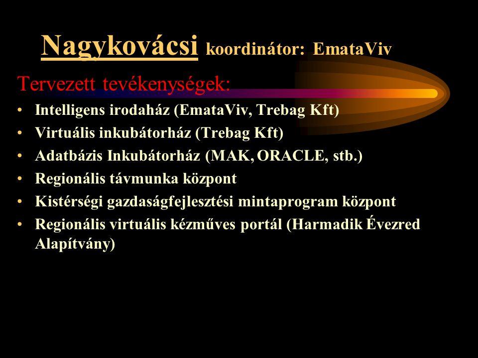 Nagykovácsi koordinátor: EmataViv Tervezett tevékenységek: •Intelligens irodaház (EmataViv, Trebag Kft) •Virtuális inkubátorház (Trebag Kft) •Adatbázi