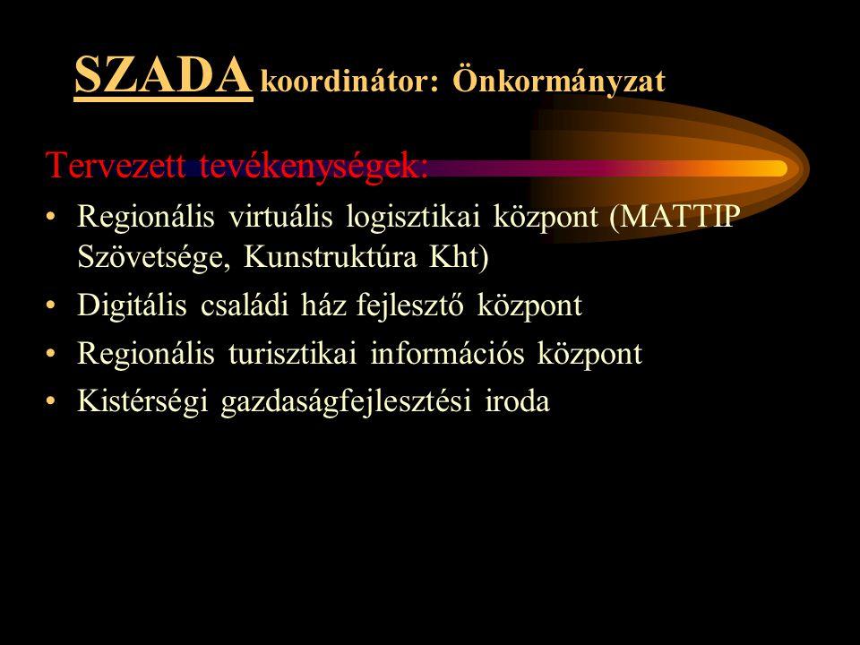 SZADA koordinátor: Önkormányzat Tervezett tevékenységek: •Regionális virtuális logisztikai központ (MATTIP Szövetsége, Kunstruktúra Kht) •Digitális cs