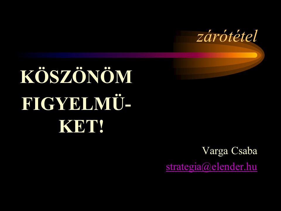 zárótétel KÖSZÖNÖM FIGYELMÜ- KET! Varga Csaba strategia@elender.hu