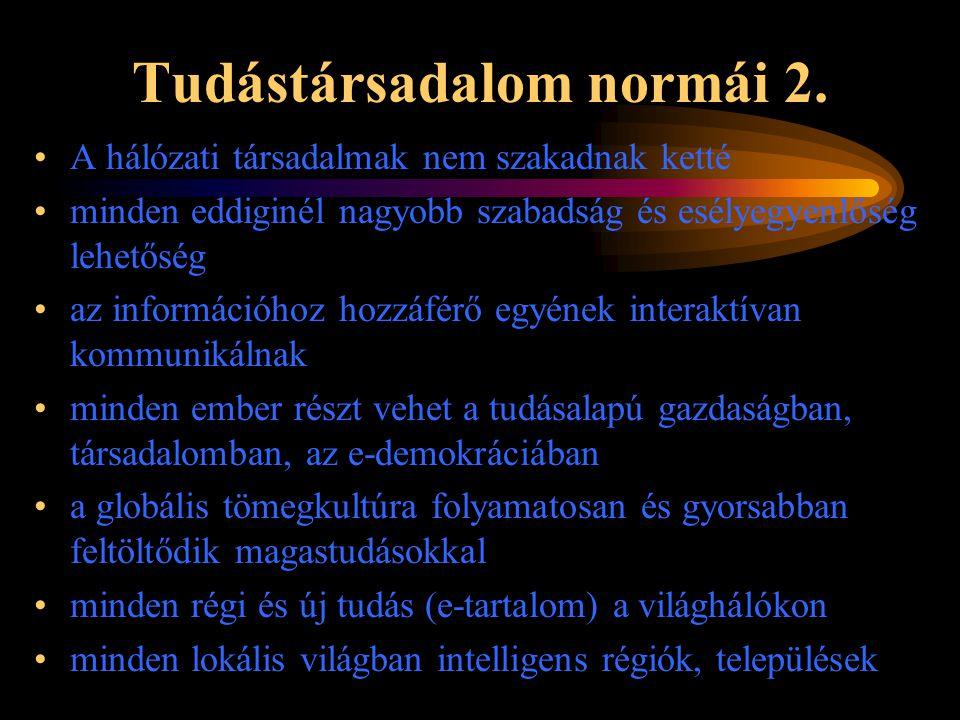 Tudástársadalom normái 2. •A hálózati társadalmak nem szakadnak ketté •minden eddiginél nagyobb szabadság és esélyegyenlőség lehetőség •az információh