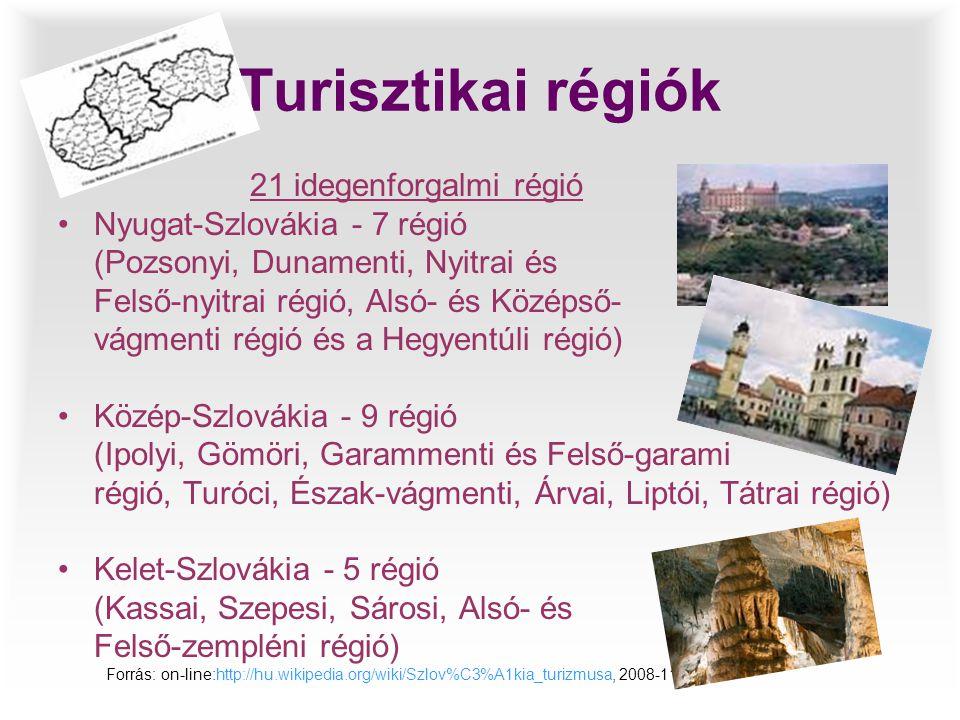 Turisztikai régiók 21 idegenforgalmi régió •Nyugat-Szlovákia - 7 régió (Pozsonyi, Dunamenti, Nyitrai és Felső-nyitrai régió, Alsó- és Középső- vágment