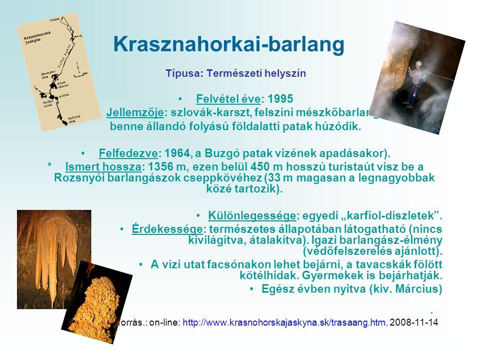 Krasznahorkai-barlang Típusa: Természeti helyszín •Felvétel éve: 1995 •Jellemzője: szlovák-karszt, felszíni mészkőbarlang, benne állandó folyású földa