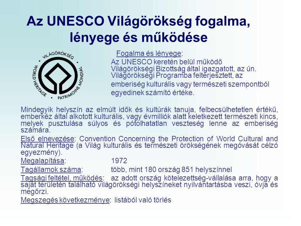 Az UNESCO Világörökség fogalma, lényege és működése Fogalma és lényege: Az UNESCO keretén belül működő Világörökségi Bizottság által igazgatott, az ún