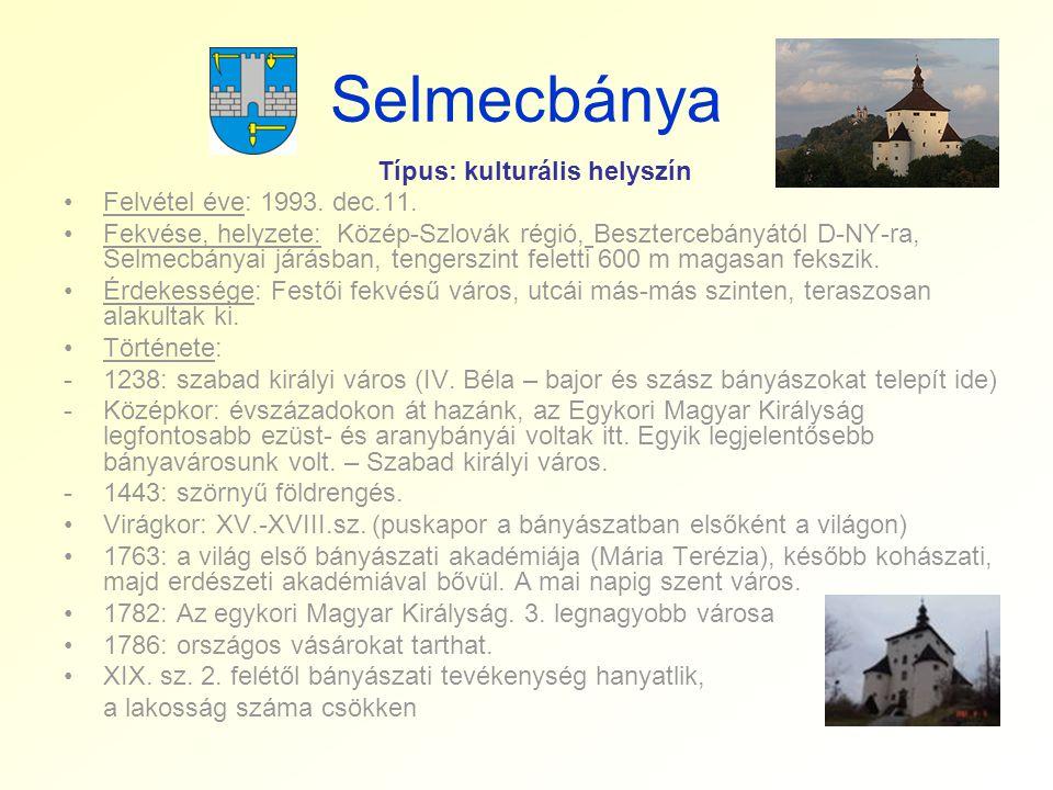 Selmecbánya Típus: kulturális helyszín •Felvétel éve: 1993. dec.11. •Fekvése, helyzete: Közép-Szlovák régió, Besztercebányától D-NY-ra, Selmecbányai j