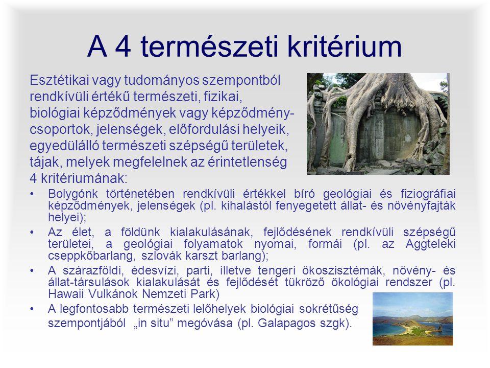 A 4 természeti kritérium Esztétikai vagy tudományos szempontból rendkívüli értékű természeti, fizikai, biológiai képződmények vagy képződmény- csoport