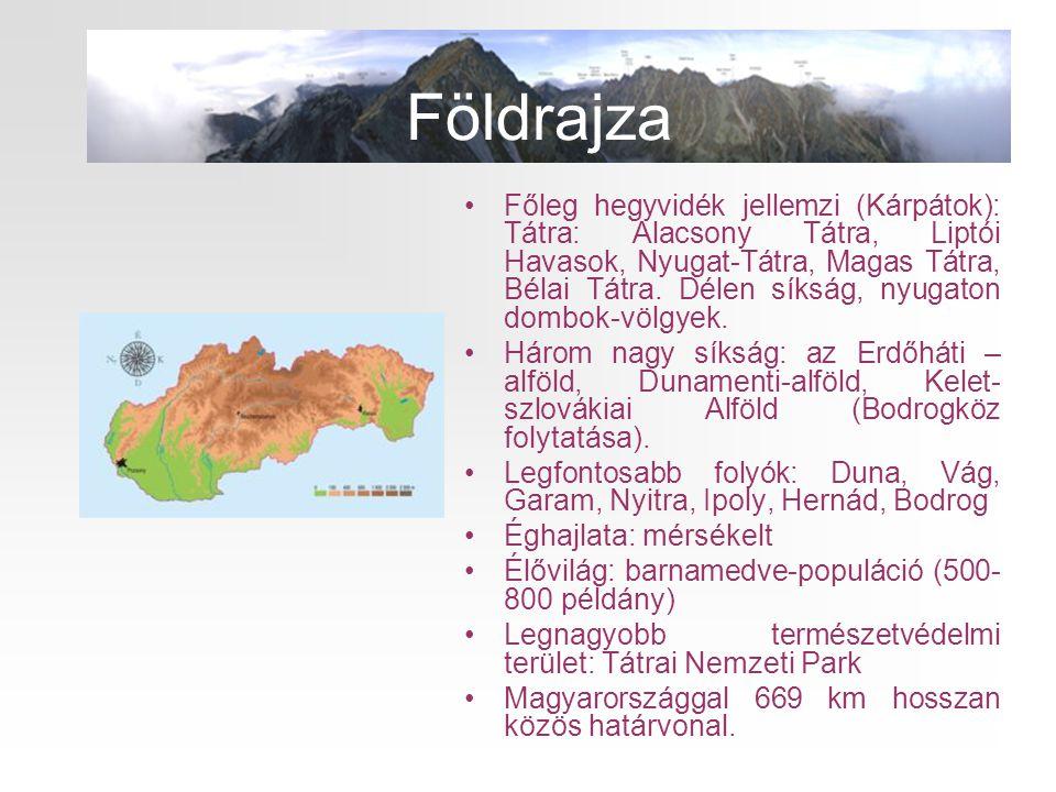 •Főleg hegyvidék jellemzi (Kárpátok): Tátra: Alacsony Tátra, Liptói Havasok, Nyugat-Tátra, Magas Tátra, Bélai Tátra. Délen síkság, nyugaton dombok-völ