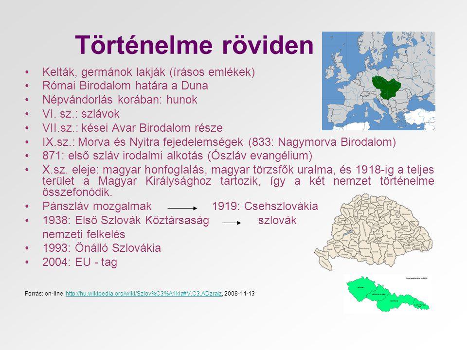 Történelme röviden •Kelták, germánok lakják (írásos emlékek) •Római Birodalom határa a Duna •Népvándorlás korában: hunok •VI. sz.: szlávok •VII.sz.: k