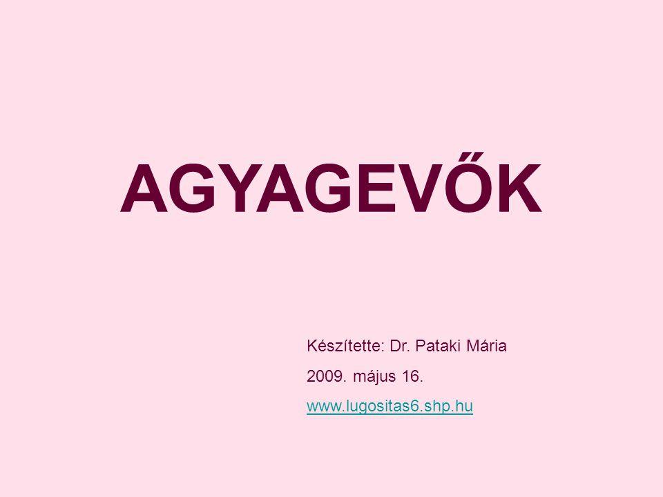 AGYAGEVŐK Készítette: Dr. Pataki Mária 2009. május 16. www.lugositas6.shp.hu