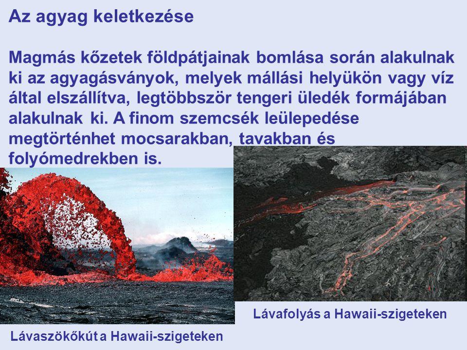 Az agyag keletkezése Magmás kőzetek földpátjainak bomlása során alakulnak ki az agyagásványok, melyek mállási helyükön vagy víz által elszállítva, legtöbbször tengeri üledék formájában alakulnak ki.