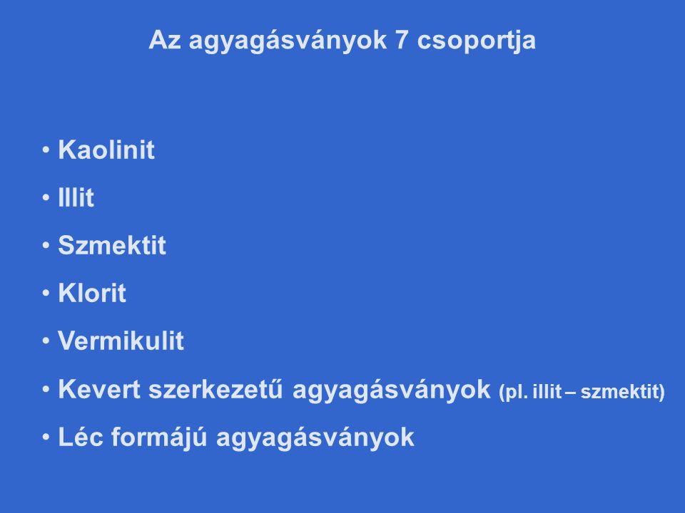 • Kaolinit • Illit • Szmektit • Klorit • Vermikulit • Kevert szerkezetű agyagásványok (pl.