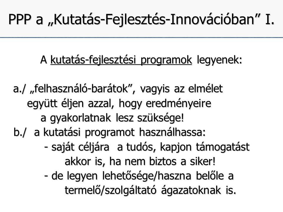 """5 PPP a """"Kutatás-Fejlesztés-Innovációban I."""