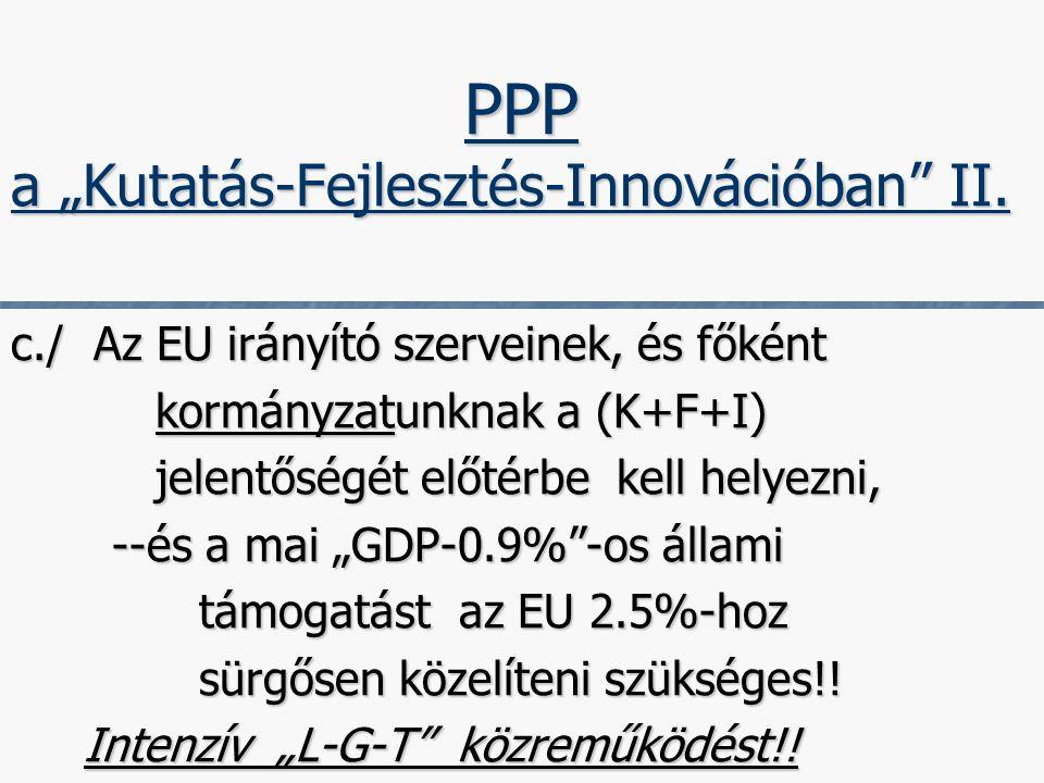 """6 c./ Az EU irányító szerveinek, és főként kormányzatunknak a (K+F+I) kormányzatunknak a (K+F+I) jelentőségét előtérbe kell helyezni, jelentőségét előtérbe kell helyezni, --és a mai """"GDP-0.9% -os állami --és a mai """"GDP-0.9% -os állami támogatást az EU 2.5%-hoz támogatást az EU 2.5%-hoz sürgősen közelíteni szükséges!."""