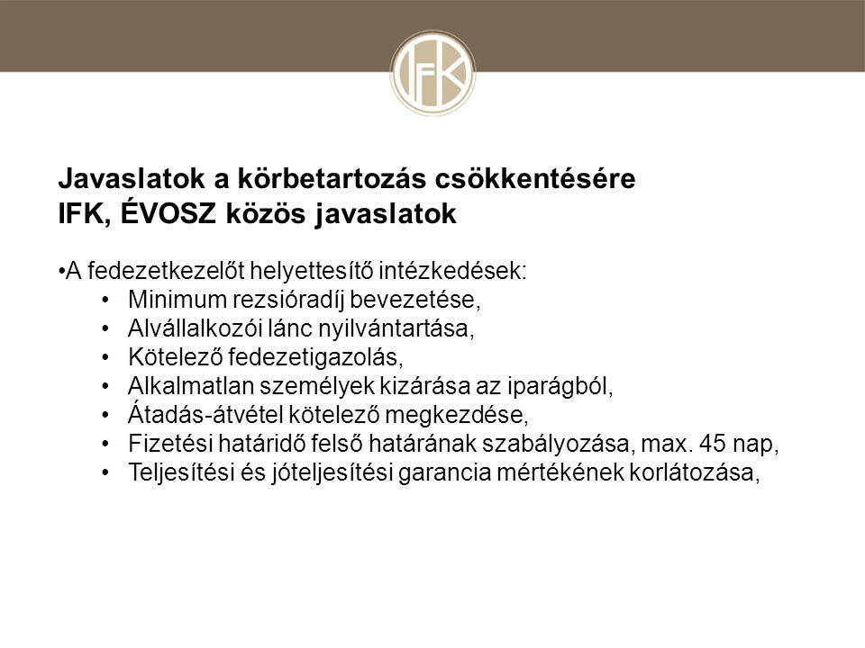 Javaslatok a körbetartozás csökkentésére IFK, ÉVOSZ közös javaslatok •A fedezetkezelőt helyettesítő intézkedések: •Minimum rezsióradíj bevezetése, •Alvállalkozói lánc nyilvántartása, •Kötelező fedezetigazolás, •Alkalmatlan személyek kizárása az iparágból, •Átadás-átvétel kötelező megkezdése, •Fizetési határidő felső határának szabályozása, max.