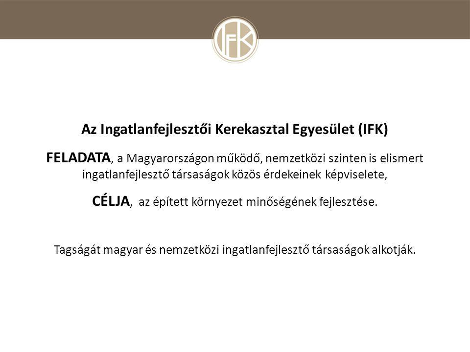 Az Ingatlanfejlesztői Kerekasztal Egyesület (IFK) FELADATA, a Magyarországon működő, nemzetközi szinten is elismert ingatlanfejlesztő társaságok közös érdekeinek képviselete, CÉLJA, az épített környezet minőségének fejlesztése.