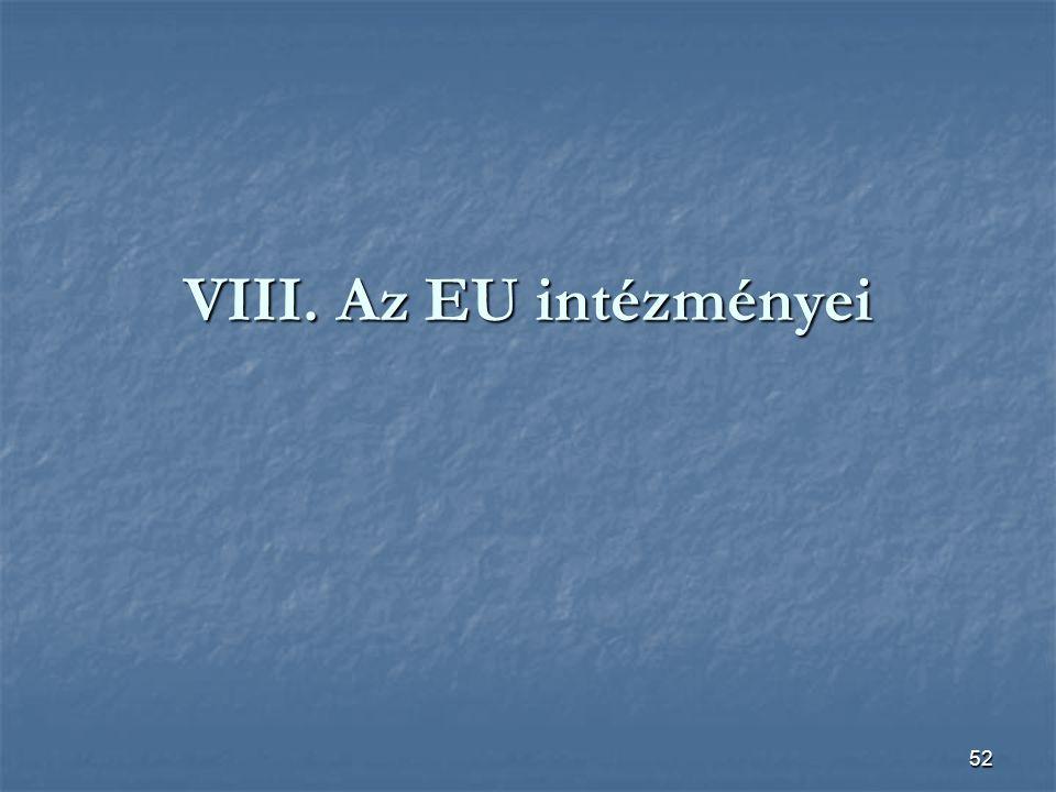 52 VIII. Az EU intézményei