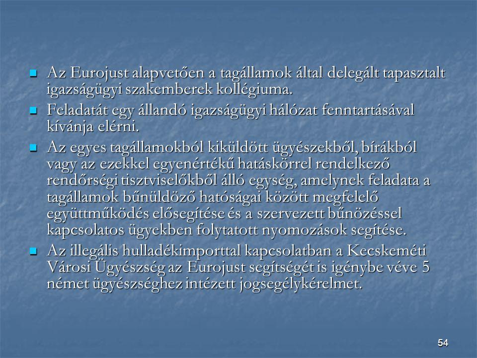 54  Az Eurojust alapvetően a tagállamok által delegált tapasztalt igazságügyi szakemberek kollégiuma.