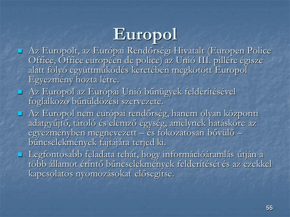 55 Europol  Az Europolt, az Európai Rendőrségi Hivatalt (Europen Police Office, Office européen de police) az Unió III.