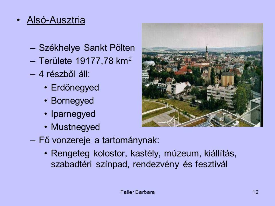 Faller Barbara12 •Alsó-Ausztria –Székhelye Sankt Pölten –Területe 19177,78 km 2 –4 részből áll: •Erdőnegyed •Bornegyed •Iparnegyed •Mustnegyed –Fő von