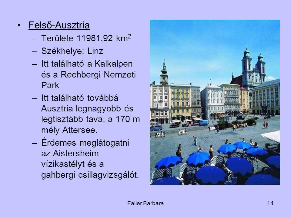 Faller Barbara14 •Felső-Ausztria –Területe 11981,92 km 2 –Székhelye: Linz –Itt található a Kalkalpen és a Rechbergi Nemzeti Park –Itt található továbbá Ausztria legnagyobb és legtisztább tava, a 170 m mély Attersee.