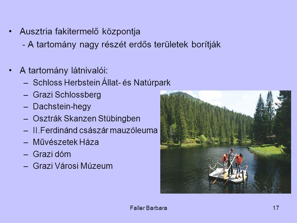 Faller Barbara17 •Ausztria fakitermelő központja - A tartomány nagy részét erdős területek borítják •A tartomány látnivalói: –Schloss Herbstein Állat-