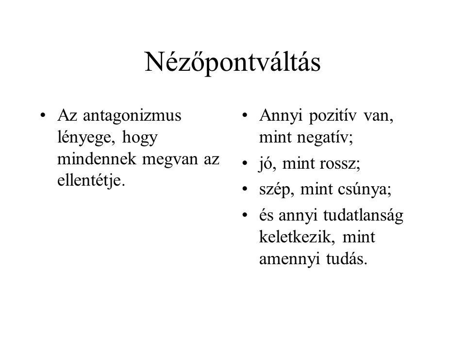 Nézőpontváltás •Az antagonizmus lényege, hogy mindennek megvan az ellentétje. •Annyi pozitív van, mint negatív; •jó, mint rossz; •szép, mint csúnya; •