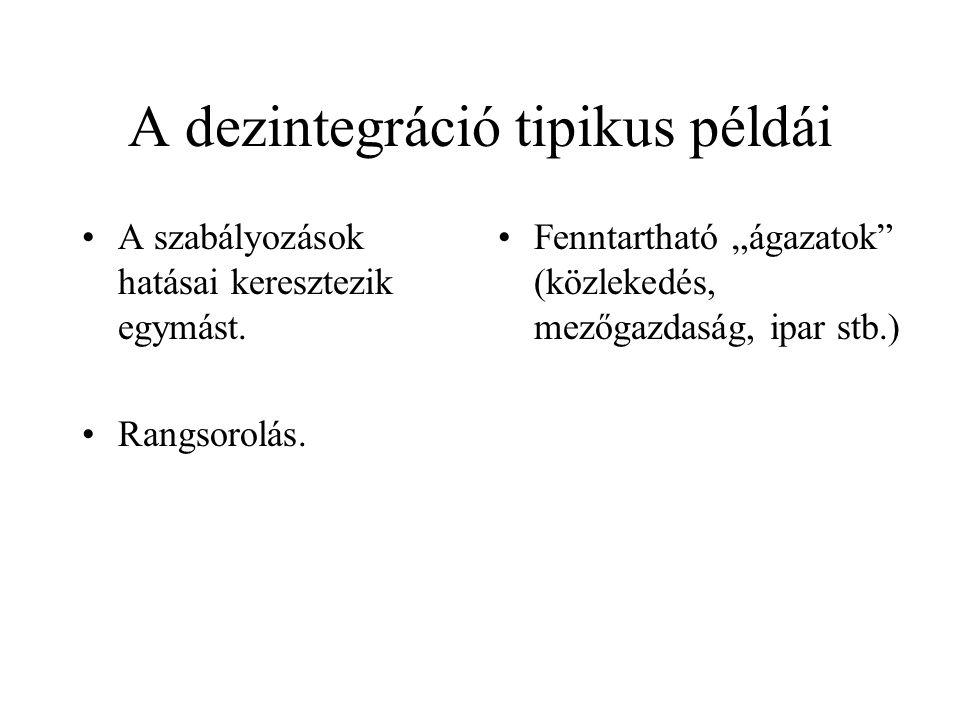 A dezintegráció tipikus példái •A szabályozások hatásai keresztezik egymást.